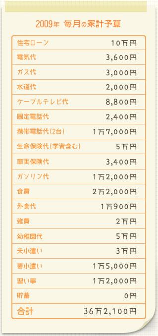 2009年 毎月の家計予算