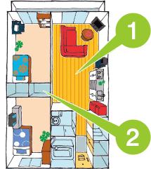 個室を確保+リビングを共有できる2LDKタイプ