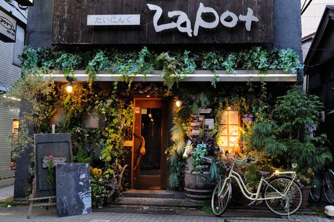 宿場町通りの古い建物をリノベーションしたカフェ&ダイニングバー「ZAPOT」。世界的庭園デザイナー・石原和幸氏が手がけた空間は、外観および店内の壁と天井いっぱいに緑を配し、森の中にいるような不思議な雰囲気でした