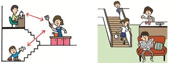 家族のコミュニケーションがとりやすいスキップフロアとリビングイン階段