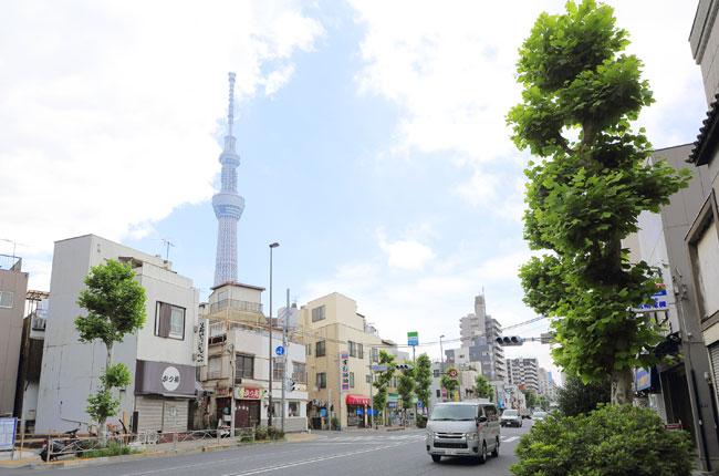そびえたつ東京スカイツリー。周辺の街からは、いつでもその姿を仰ぎ見ることができます