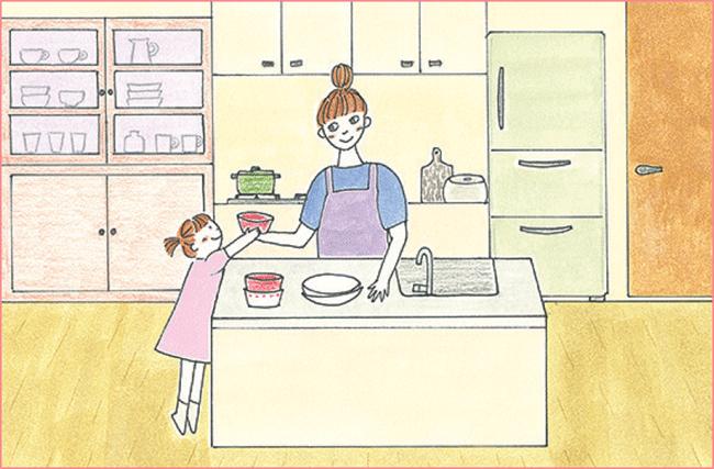 お手伝いがしやすいアイランドキッチン