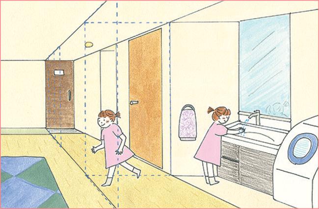 手洗いの習慣が身に付く動線