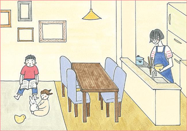 家事中もコミュニケーションがとりやすい対面キッチン