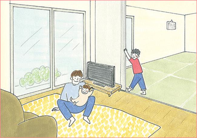 リビングと一体で使える個室