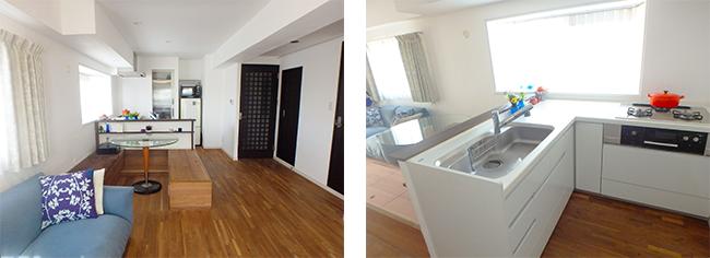 2LDKを1LDKにして対面式キッチンのある大空間に。床はウオールナットのフローリングで壁・天井は漆喰。リノベーションの3大要望を叶えた事例(筆者所有マンション、写真/長井純子)
