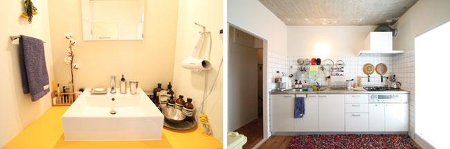 キッチンや洗面は機能的かつシンプルなものを選択し、タイルや色使いでアクセントを