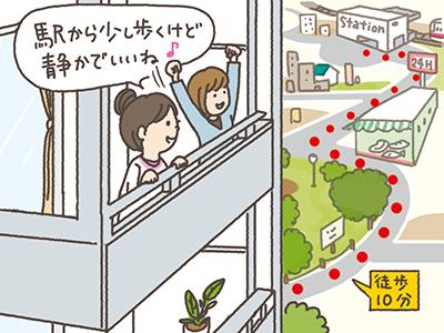 駅から徒歩10分以内を目安に、少し徒歩分数が増えてもゆったりした住まい