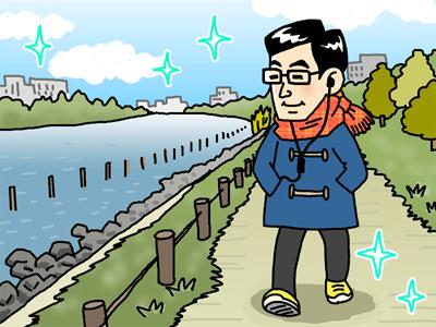 家の近くの川沿いを散歩するのが好き
