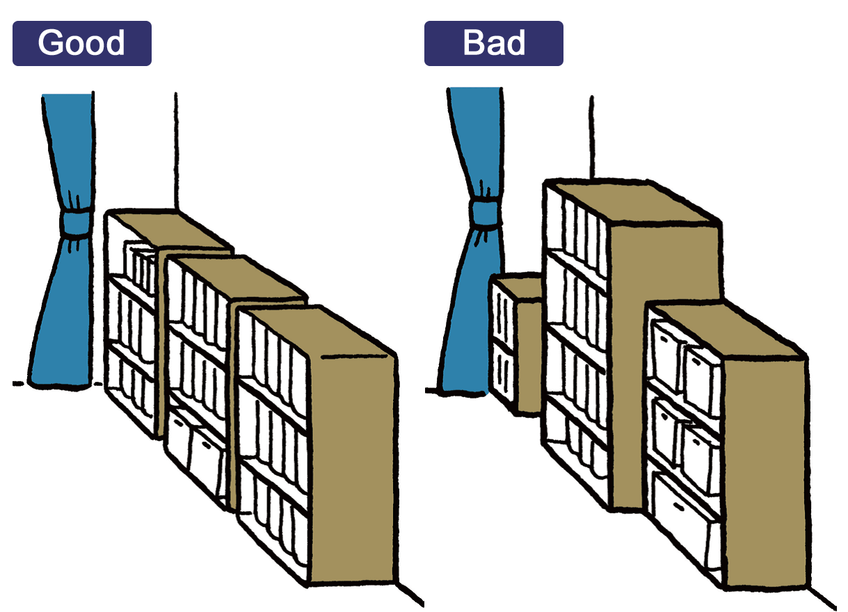 凹凸を生まないよう家具の高さや奥行きを揃える