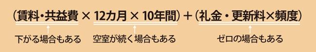 (賃料・共益費 × 12カ月 × 10年間)+(礼金・更新料×頻度)