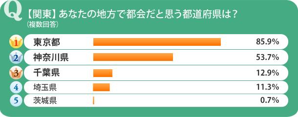 【関東】あなたの地方で都会だと思う都道府県は?