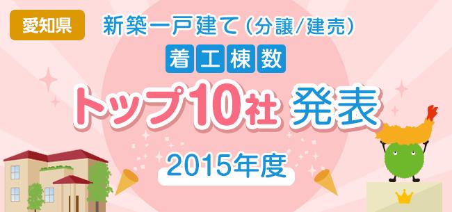 愛知県 新築一戸建て(分譲/建売) 着工棟数トップ10社発表【2015年度】