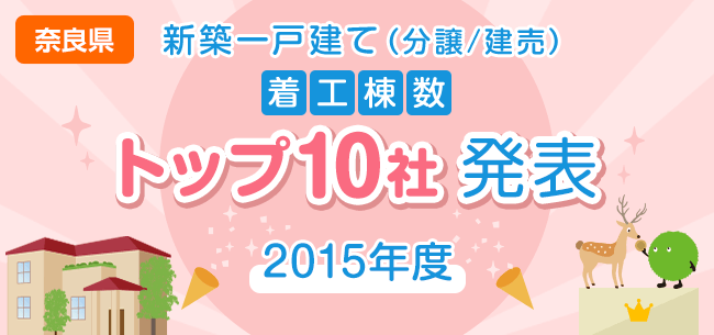 奈良県 新築一戸建て(分譲/建売) 着工棟数トップ10社発表【2015年度】