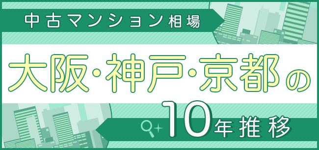 中古マンション相場、大阪・神戸・京都の10年推移