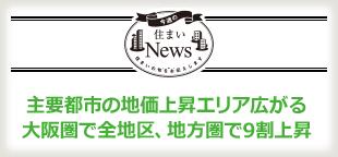 主要都市の地価上昇エリア広がる 大阪圏で全地区、地方圏で9割上昇