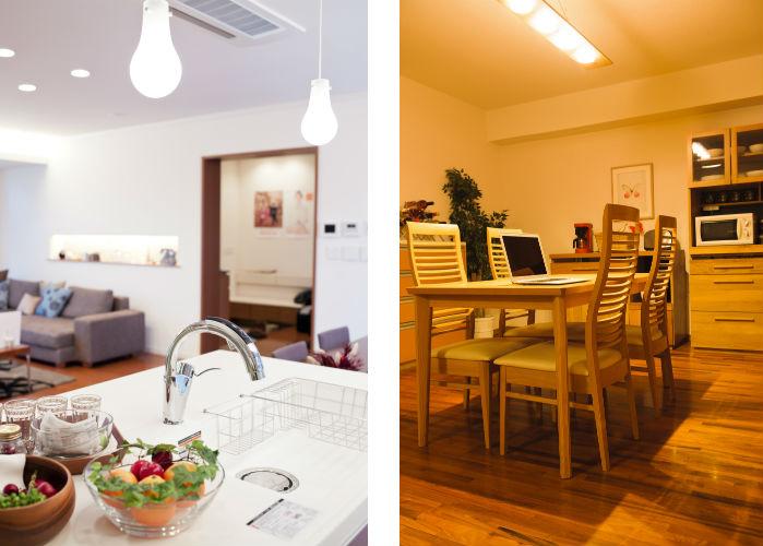 白色系のライトを使用したキッチンと、暖色系のライトを使用したダイニング