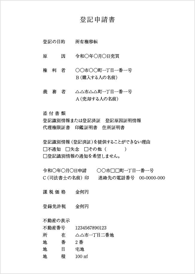 登記申請書(土地の売買の場合)のイメージ