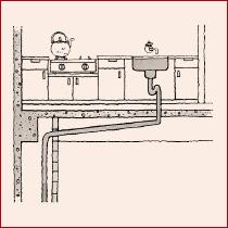 排水管は階下の天井裏に