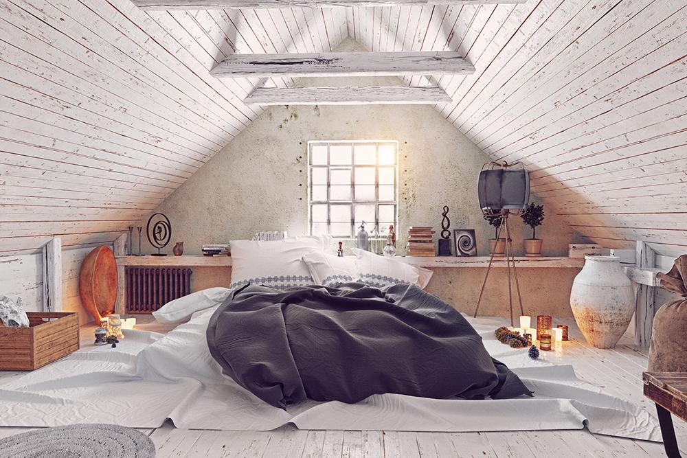 三角屋根の屋根裏部屋