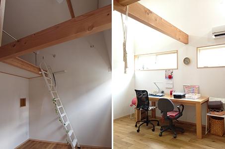 子ども部屋の上に屋根裏部屋を設ける