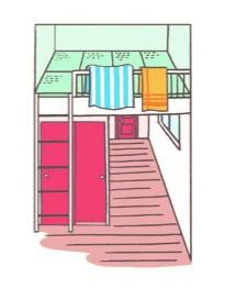 和室風の屋根裏部屋のイラスト