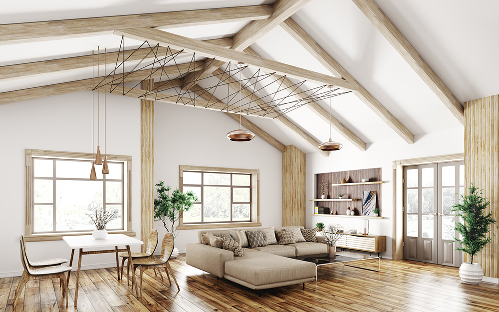 梁をデザインとして生かした勾配天井