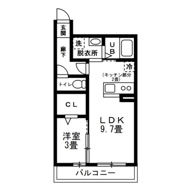1LDK LDKと寝室が並列の間取り