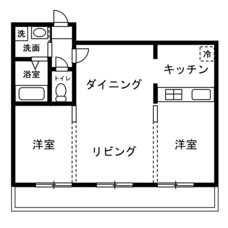 2LDK 居室2部屋とLDKが横並間取り