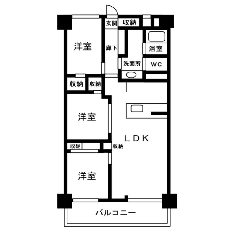 3LDK 居室とLDKが半々間取り