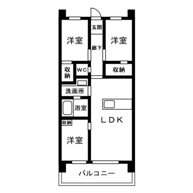 3LDK 玄関側に居室2部屋間取り