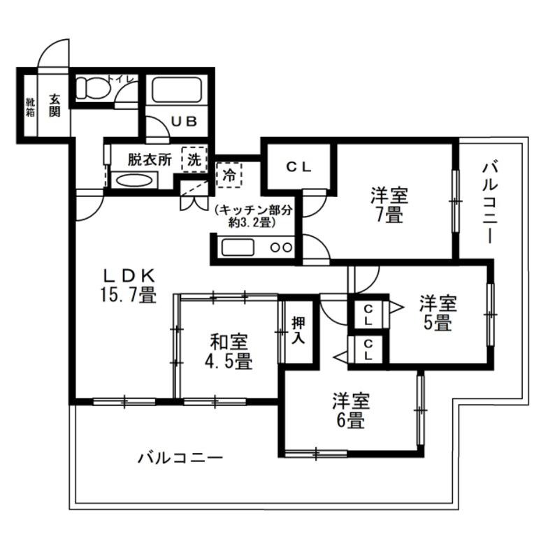 4LDK リビングを中心に居室にアクセスする間取り