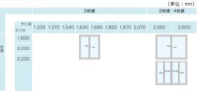 掃き出し窓サイズ表