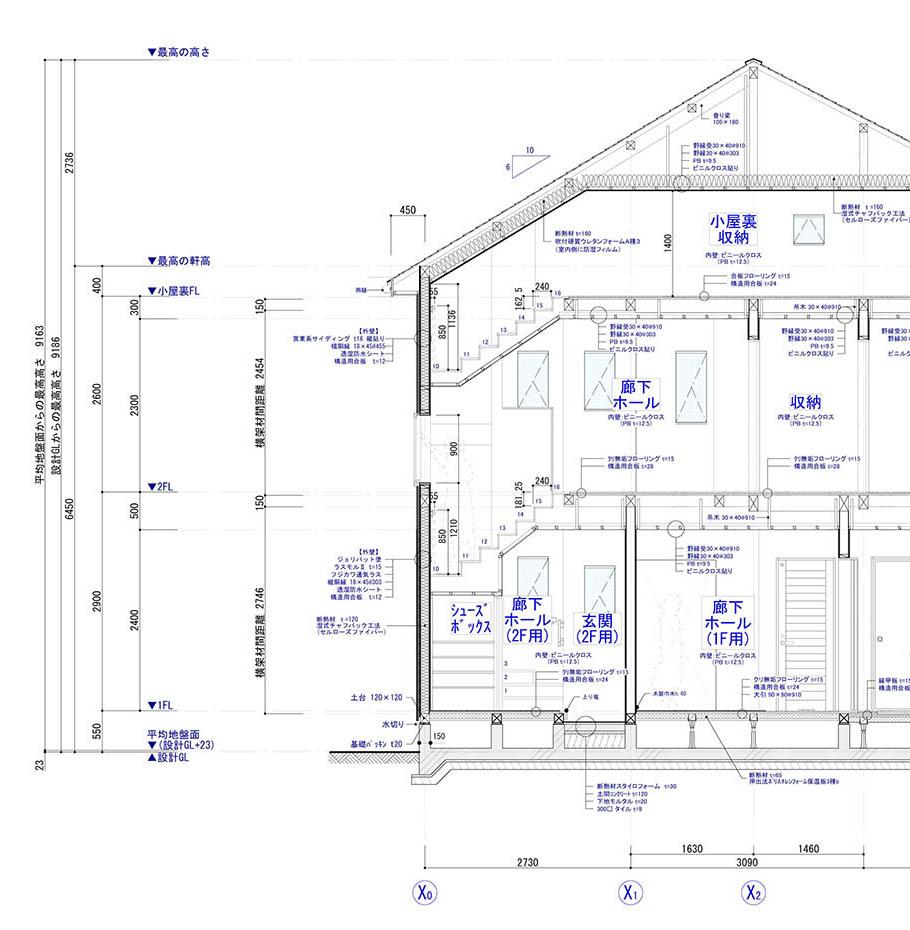 木造軸組工法の矩計図の例