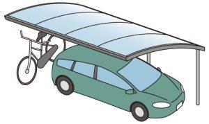 車1台と自転車が置けるカーポートイラスト