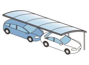 縦列で車2台置けるカーポートイラスト