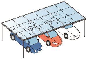 並列で車3台置けるカーポートイラスト