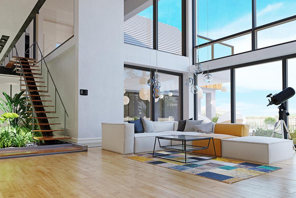 リビング階段のある光がたっぷりはいる部屋の写真