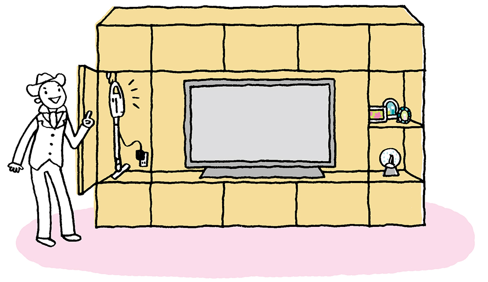 コジマジックさんの自宅のリビングにあるテレビ台には掃除機も収納できる