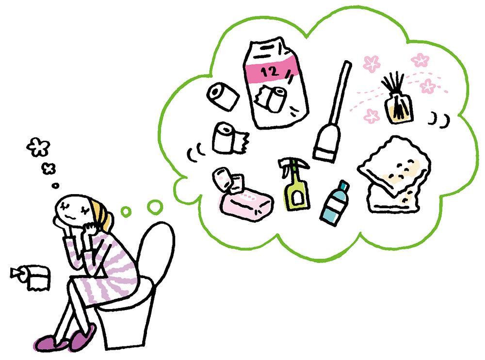 トイレに収納したいもの(イレットペーパー、トイレ用洗剤、掃除ブラシなど)について考えている女性