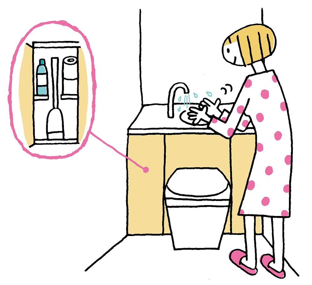 トイレのタンクと収納キャビネット、手洗いがひとつになったトイレ
