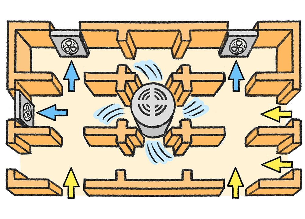 排出型と拡散型の床下換気扇の配置イメージ