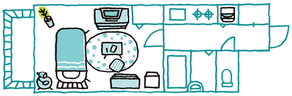 7畳の1Kに置ける家具のイラスト