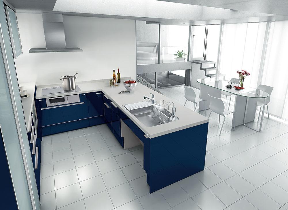 ペニンシュラレイアウトのL型キッチンの例
