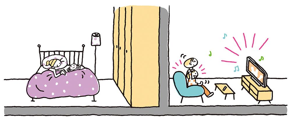 騒音対策がなされた部屋のイラスト