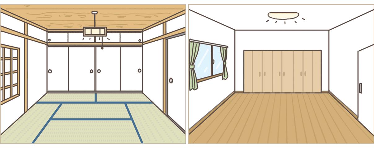 左:一般的な和室 右:一般的な洋室