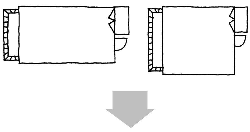 細長い部屋・四角い部屋のイラスト