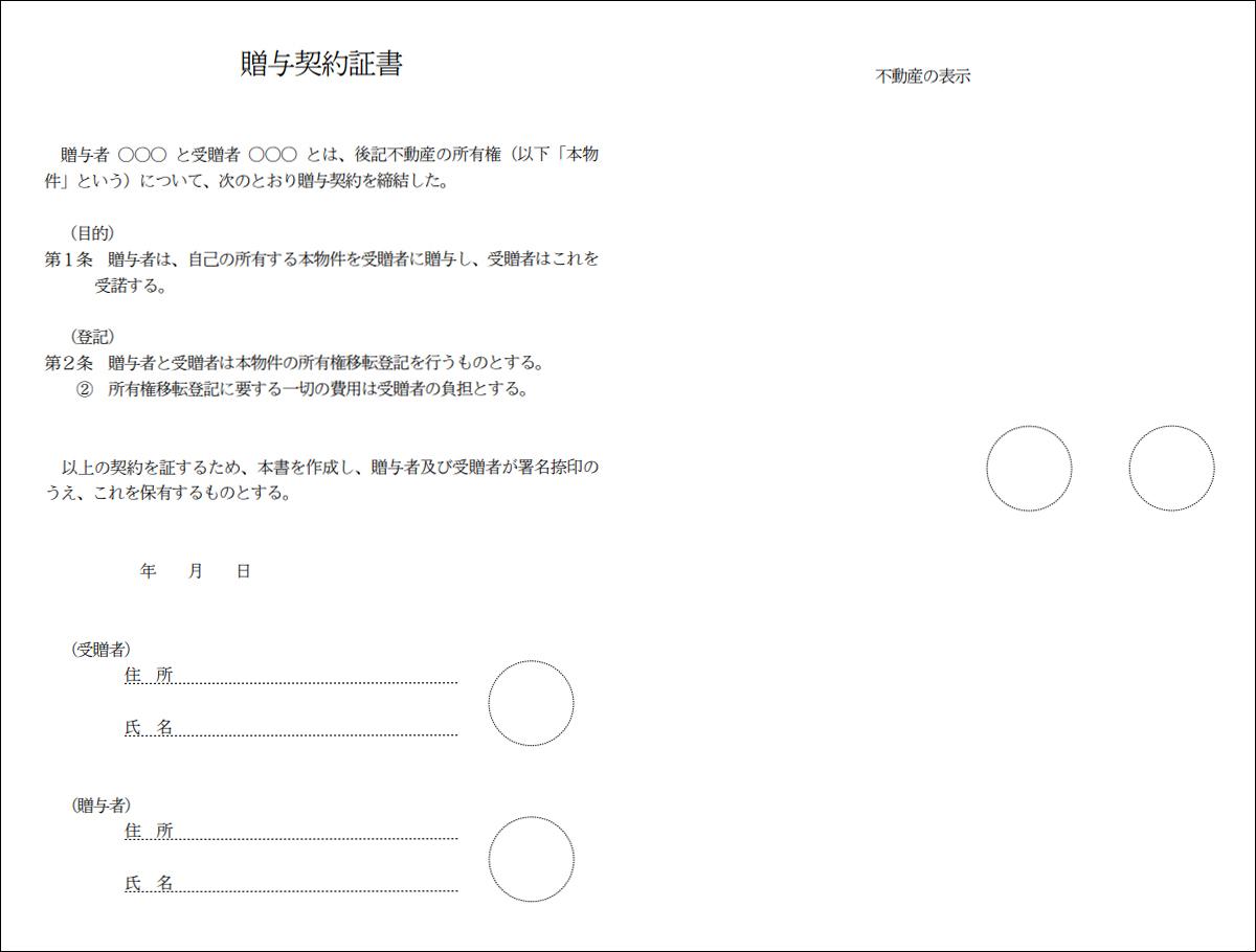 贈与契約書のイメージ