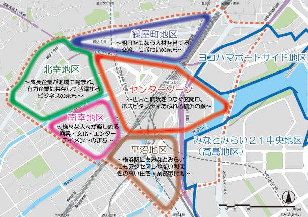 横浜市の「エキサイトよこはま22」のエリア図