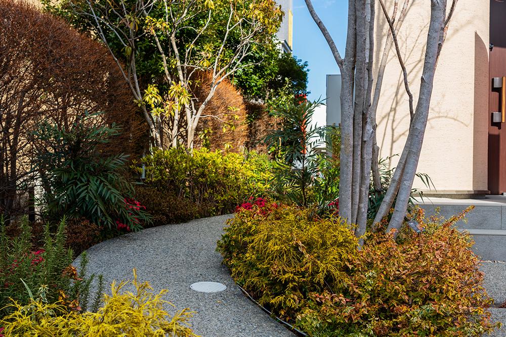 さまざまな種類の植栽によって四季を感じられる玄関アプローチ